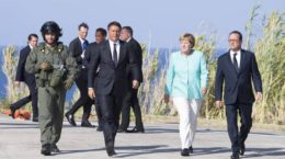 Italian Prime Minister Matteo Renzi, French President Francois Hollande and German Chancellor Angela Merkel during their meeting in Ventotene island, Tirreno sea, Italy, 22 August 2016.  ANSA/CHIGI PALACE PRESS OFFICE-TIBERIO BARCHIELLI +++EDITORIAL USE ONLY - NO SALES+++